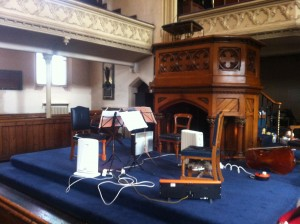 Stage set for our recital at Heath Street Baptist Church