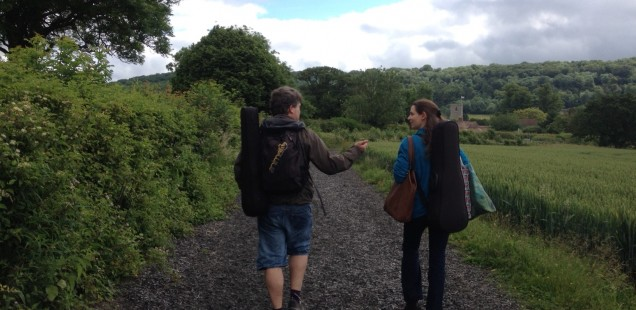 Walking across the fields from Tring to Aldbury with Peter Sheppard Skaerved. Photo - Sadie Harrison.