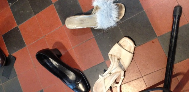 The question of the stamps - which shoes would win Sadie's vote? In the end, the blue fluffy slippers!