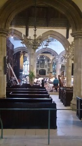 Stage being prepared for the concert, St. Helen's, Abingdon, 13th June 2015
